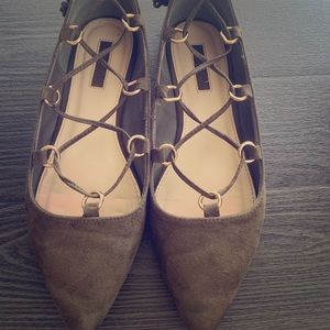 Suede lace up flats